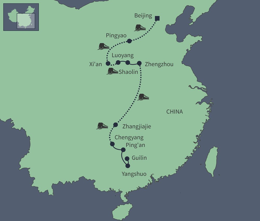 Routekaart van Dwars door China