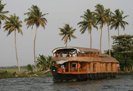 Kerala, houseboat in de backwaters